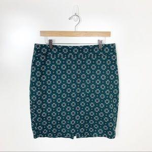 LOFT | Dark Green Floral Pencil Skirt Size 10